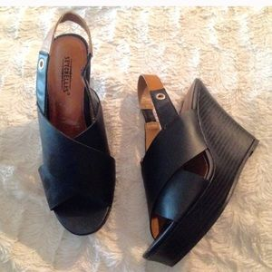SEYCHELLES women's wedge heels black vegan leather